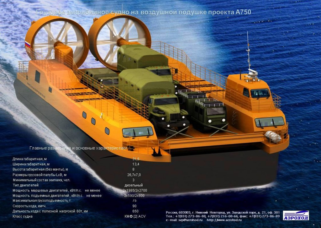 Рис. 4. Проект АСВП для рейдовой разгрузки на необорудованное побережье, полезная нагрузка до 60 тонн.